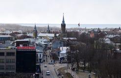 利耶帕亚,拉脱维亚, 2018年3月16日, 利耶帕亚市看法有圣约瑟夫大教堂的 免版税库存图片