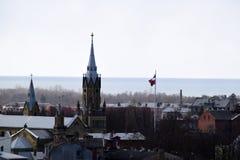 利耶帕亚,拉脱维亚, 2018年3月16日, 利耶帕亚市看法有圣约瑟夫大教堂的 免版税库存照片