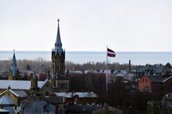 利耶帕亚,拉脱维亚, 2018年3月16日, 利耶帕亚市看法有圣约瑟夫大教堂的 免版税图库摄影