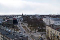 利耶帕亚,拉脱维亚, 2018年3月16日, 利耶帕亚市看法有圣约瑟夫大教堂的 库存照片