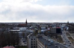 利耶帕亚,拉脱维亚, 2018年3月16日, 利耶帕亚市看法有圣Anne's教会的 库存照片