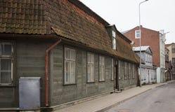 利耶帕亚,拉脱维亚- 2017年3月:木建筑学 库存照片