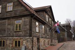 利耶帕亚,拉脱维亚- 2017年3月:木建筑学 图库摄影