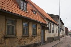 利耶帕亚,拉脱维亚- 2017年3月:木建筑学 免版税图库摄影