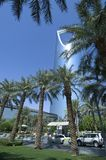 利雅得-10月21日:Al Mamlaka塔和周围在Octobe 库存照片
