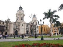 利马大教堂和街市大主教` s宫殿 图库摄影
