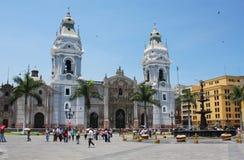 利马大教堂在秘鲁 免版税库存照片