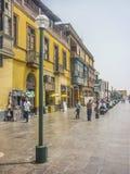 利马殖民地样式街道  库存图片