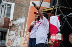 利马,秘鲁- 2017年10月10日:狂热在秘鲁秘鲁对哥伦比亚俄罗斯2018年 免版税图库摄影
