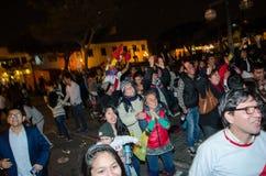 利马,秘鲁- 2017年10月10日:狂热在秘鲁秘鲁对哥伦比亚俄罗斯2018年 库存图片