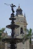 利马,秘鲁- 2014年12月31日:在广场市长的喷泉在L 库存照片