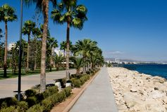 利马索尔散步胡同, Molos,塞浦路斯 免版税图库摄影