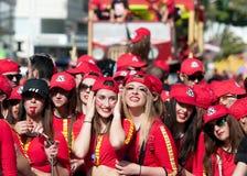 利马索尔狂欢节队伍塞浦路斯2016年 免版税图库摄影