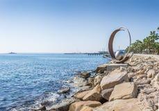 利马索尔,塞浦路斯- 2015年10月26日, :岩石和雕塑Molos我 库存照片