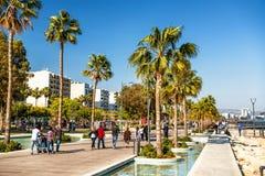 利马索尔,塞浦路斯- 2016年4月01日:利马索尔海滨公园 库存照片
