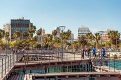 利马索尔,塞浦路斯- 2016年4月01日:利马索尔都市风景和Seasid 免版税库存图片