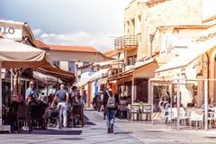 利马索尔,塞浦路斯- 2016年4月01日:城堡正方形在老镇 免版税库存照片