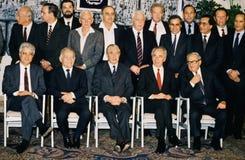 戴维・利维、伊扎克・沙米尔、Chaim赫佐格,希蒙・佩雷斯和Yitzhak Navon 免版税图库摄影