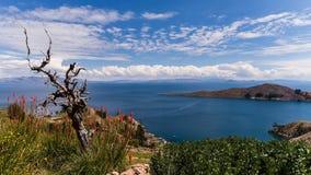 玻利维亚和秘鲁的边界的喀喀湖 库存图片
