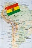 玻利维亚在地图的旗子别针 库存照片