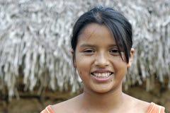 玻利维亚的女孩画象有光芒四射的面孔的 免版税图库摄影