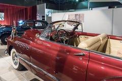 别克Roadmacter 1949在陈列的敞篷车小轿车内部在国王Abdullah二世汽车博物馆在阿曼,首都  免版税库存图片