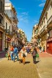 别哈城区街道,蒙得维的亚,乌拉圭 免版税库存照片