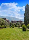 别墅一栋皇家乡间别墅的艾德里安娜废墟在罗马附近的Tivoli,从皇帝艾德里安统治罗马帝国 库存图片