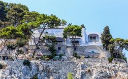 别墅克虏伯旅馆在卡普里岛镇在卡普里岛海岛上的 图库摄影