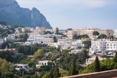 别墅卡普里岛海岛看法在意大利 免版税库存照片