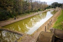 别墅艾德里安娜 Hadrian别墅的Canopus在Tivoli,意大利 免版税图库摄影
