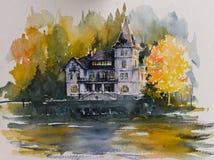 别墅贾司迪优尼 田园诗秋天场面在Grundlsee湖 库存图片