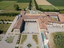 别墅Arconati, Castellazzo,博拉泰,米兰,意大利 别墅Arconati鸟瞰图  图库摄影