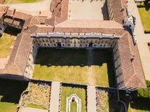 别墅Arconati, Castellazzo,博拉泰,米兰,意大利 别墅Arconati鸟瞰图  免版税图库摄影