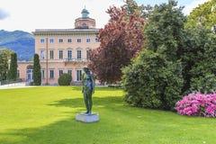 别墅Ciani在Ciani公园,卢加诺,瑞士 图库摄影