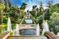 别墅d'Este, Tivoli,意大利鸟瞰图  免版税库存照片