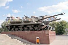 别尔哥罗德州 在一个垫座的坦克在博物馆dioramy争斗附近  免版税库存照片