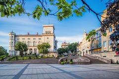 别尔斯科-比亚瓦、Chrobry广场和Sulkowski城堡 图库摄影