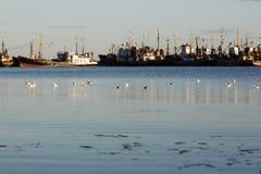 别尔江斯克-乌克兰, 2016年9月01日:在城市别尔江斯克旧港口的渔船  亚速号海 乌克兰 免版税图库摄影