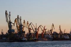 别尔江斯克-乌克兰, 2016年9月02日:许多在口岸的大起重机剪影在日出金黄光在水中反射了 免版税库存图片
