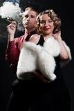 别致的雪茄人纵向妇女 免版税库存照片