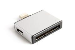 30别针和微USB对8个别针适配器 免版税库存图片
