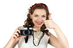 别针的图象妇女的有照相机的 库存图片