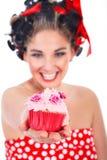 别针的妇女样式和杯形蛋糕 库存图片