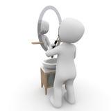 刮在镜子前面 库存照片
