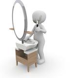 刮在镜子2前面 库存照片