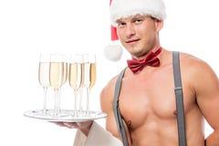 刮毛器侍者用香槟 免版税库存图片