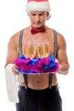 刮毛器和香槟新的Year&的x27; s党 免版税库存图片