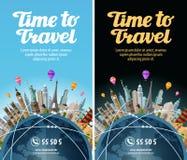 到世界的旅行 旅行 在地球的地标 假期或旅游业 皇族释放例证