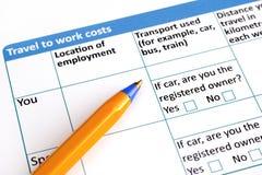 到工作费用与圆珠笔的申请表旅行 免版税图库摄影